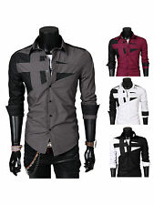 Fashion Men Boy Casual Long Sleeve Point collar Slim Fit Stitch Shirts US 10-16