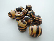 15x16mm 20/40/80 pcs TWO-TONE BROWN COLOR GRAPHICS ROUND WOOD BEADS W13813