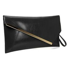 BMC Fashionable Faux Leather Gold Metal Accent Envelope Style Statement Clutch