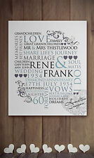 Personalised Word Art family Canvas Anniversary Wedding Gift Typography unique