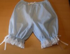 blue and white striped short legged bloomers