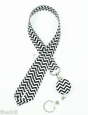 Chevron LANYARD and Retractable Badge Reel Belt Clip with Keychain
