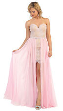 Strapless Lace Applique Chiffon Prom Dress High Low Formal with Detachable Skirt