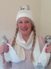 Womens Girls Knitted Winter Bobble Hat & Scarf Set White One size fits all