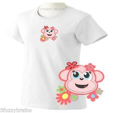 Pink Flower Cute Girl Monkey Face Floral Logo Ladies Classic Fit White T Shirt