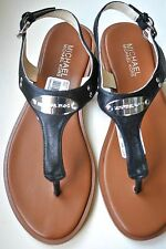 NEW MICHAEL KORS SANDALS w LOGO PLATE BLACK LEATHER SILVER GOLD Pick your size!