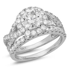 2.35 Carat Round Cut Engagement Ring band set real 14k White Gold Bridal VVS1