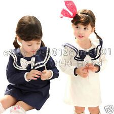 Baby Girls dress Cute Bow Ruufle Wear To School Navy vintage Pageant Dress 1-5T