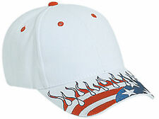 US Flag Flame Pattern Visor Brushed Cotton Twill Low Profile ProStyle Cap 58-756