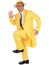 90s Fancy Dress Mens Yellow Gangster Zoot Suit The Mask Jim Carrey Costume