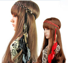 Bohemian Hippie Feather Leaf Fringe Headdress Hair Weave Headpieces Headband 02