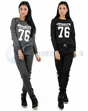 LADIES BROOKLYN TRACKSUIT STYLISH FITTED WOMENS JOGGING BOTTOMS SWEATSHIRT TOP