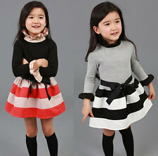 Cute Child Kids Toddler Girls Clothes Stripe Long Sleeve Princess Dress Sz2-7Y