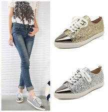 Silver New Womens Glitter Metallic Sequin Pointy Toe Lace Up Flats Oxford Shoes