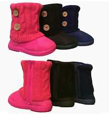 Infant Toddler Girls Cute Winter Casual Faux Fur Suede Button Boots Shoes USA