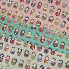 Mini Character Russian Dolls Flowers 100% Cotton Poplin Fabric Craft Material