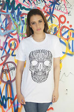 Women Skull T-Shirt Black Skull Black Skull Print White Cotton T-shirt Goth Punk