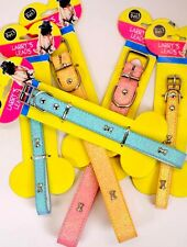 LIttle Diva Sparkling Glitter fancy Blue Yellow or PINK Small M L dogs Collar