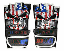 "Lockdown Fightwear ""Punisher"" MMA Gloves UFC Fight Cage Grappling American Flag"