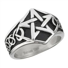 Stainless Steel Celtic Style Pentagram Star Fashion Ring Size 8-15