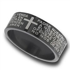 Black Stainless Steel Ring Christian Our Father Lord's Prayer SPANISH Size 7-15