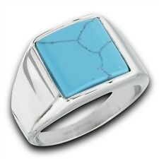 Bold Men's Stainless Steel Fashion Ring Square Synthetic Turquoise Size 8-13