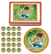 GO DIEGO GO Edible Cake Topper Cupcake Image Decoration Birthday Party