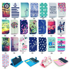 Fashion Flip Printed Hybrid Stand ID Card Synthetic Leather Cover Case For Phone