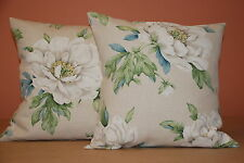 TWO LAURA ASHLEY HANDMADE CUSHION COVERS IN WISLEY LINEN