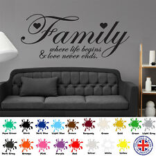 Family Where Life Begins - Wall Art Sticker Decal Quote Love Hearts Vinyl Home