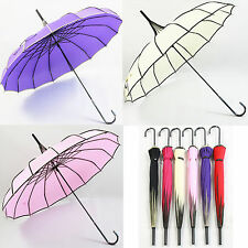 New Korean Fashion Lady Pagoda Sun/Rain Umbrella Colors Parasol straight pole
