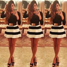 2014 Autumn Winter New Cocktail Clubwear Black White Stripe Mini Ball Gown Dress
