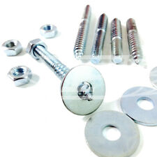 M6  WOOD TO METAL DOWELS + FULL NUT + WASHER FURNITURE FIXING SCREWS ZINC BZP