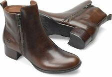Womens Born Ankle ZipOn Boot Landa Tan Brown Tan Cognac Burnished Leather D41116