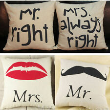 Mr right Couple Cushion Cover Linen Cotton Waist Pillow Case Sofa Bed Home Decor