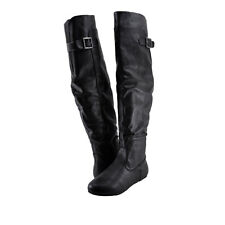 Women's Shoes Bamboo Rebeca 60 Buckle Tall Riding Boots Black *New*