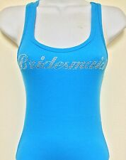 RHINESTONE (BRIDESMAID) CYAN BLUE TANK TOP SHIRT SIZE:S,M,L,XL FREE SHIPPING