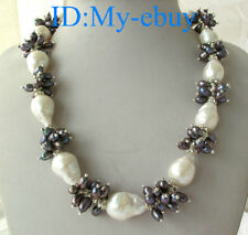White Baroque Drip Keshi Keishi&Black Rice Freshwater Pearl Necklace 18""