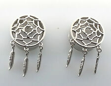 """New Classic Silver Dreamcatcher Feather Dangle Ear Plug Sizes:( 6 g to 1"""" inch )"""