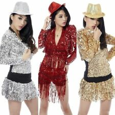 Girls Shine Glitter Sequin Short Crop Top Jacket Coat Hot Jazz Dance Costume