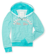 Aeropostale Women's Heathered Full-Zip Front Hoodie Sweat Top Blue, Size XL