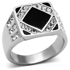 Brilliant New Stainless Steel Onyx Black Square Crystal Men's Ring - Sizes 8-13
