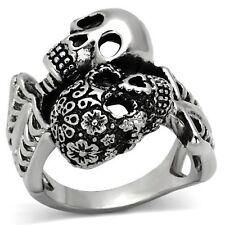 Men's New Stainless Steel Day of the Dead Skeleton Duo Wrap Ring - Sizes 8-13