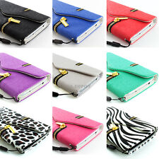 For Samsung Galaxy S IV 4 S4 Zipper Wallet Pouch PU Leather Flip Case Cover+Flim