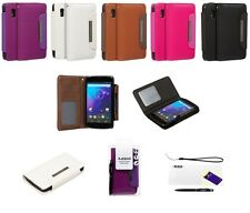 EXECUTIVE LEATHER WALLET CASE + SCREEN PROTECTOR & STYLUS FOR GOOGLE NEXUS 4