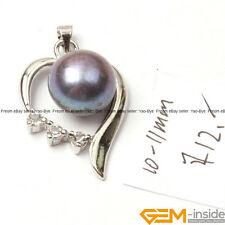 Fashion 10-11mm Freshwater Pearl White Gold Plated Heart Base Jewelry Pendant