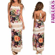 New Sexy Womens Side Slit Floral Maxi Dress Size 8 10 12 Summer Casual Evening