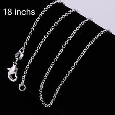 "Free P&P Fashion Lady Top Jewelry Silver 18"" 1mm Charm Chain Necklace 17j0"