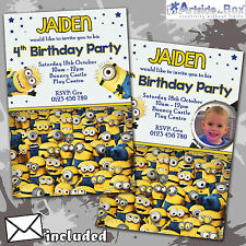 Minions Invites Despicable Me Birthday Party Personalised Invitations x 5