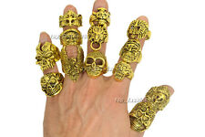 Wholesale Mixed Lots Big Gothic Skull Carved Biker Men's Golden Rings Retro Free